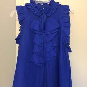 Aryn K 100% silk blue ruffle top, S
